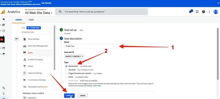 Goal settings in google analytics