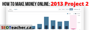 How to Make Money Online 2013 Project 2 Title showing wordpress traffic stats