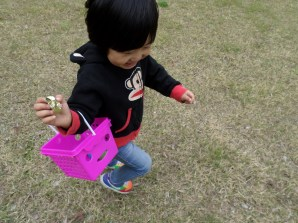 Old pic, Easter egg hunt with the primary and this cutey!
