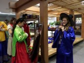 Dressing up in hanboks at the Korean culture center