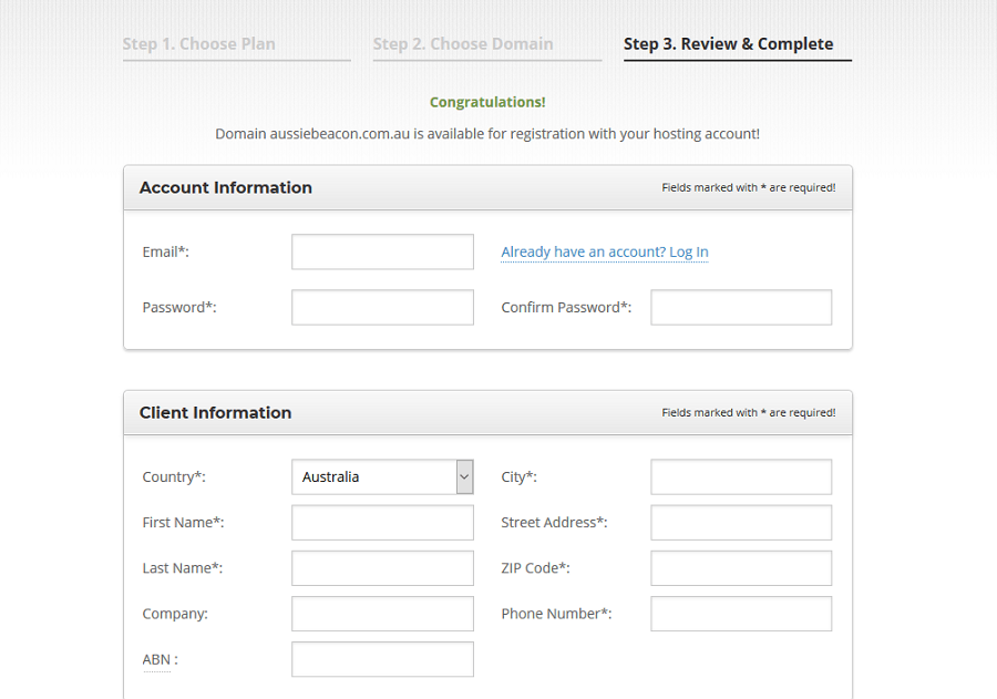 Siteground Registration Process - Step 3a