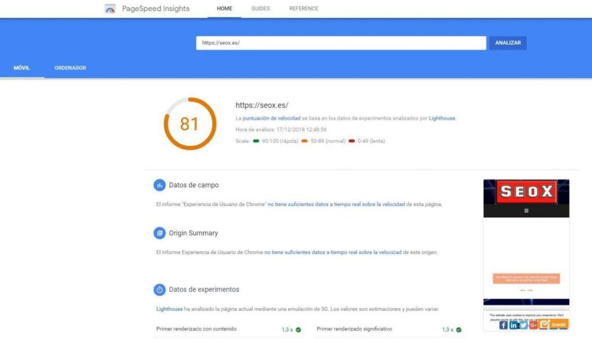 seox pagespeedinsights movil