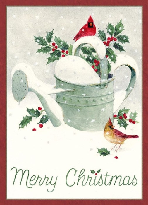 2018 Legacy Boxed Christmas Cards Winter Watering Can