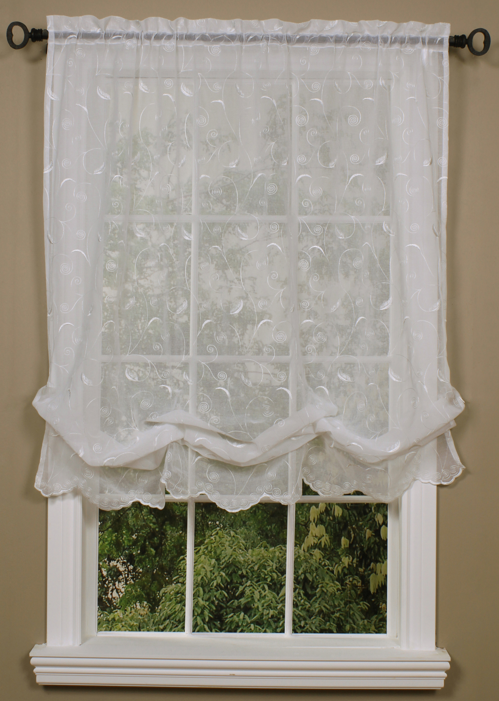 Hathaway Embroidered Semi Sheer Balloon Shade