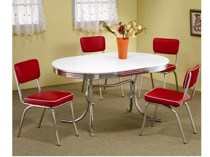Modern Metal Chrome Dining Room Set Table And Chairs