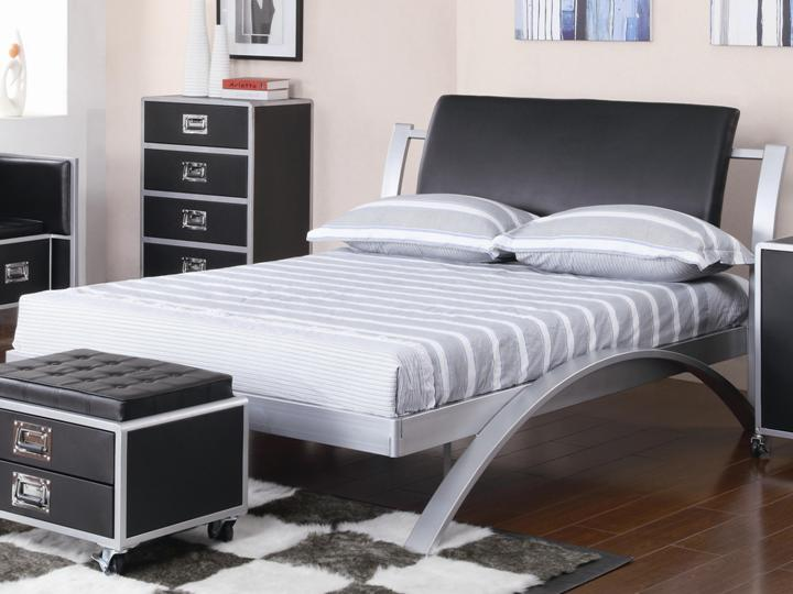 Contemporary Full Metal Platform Bed Youth Collection