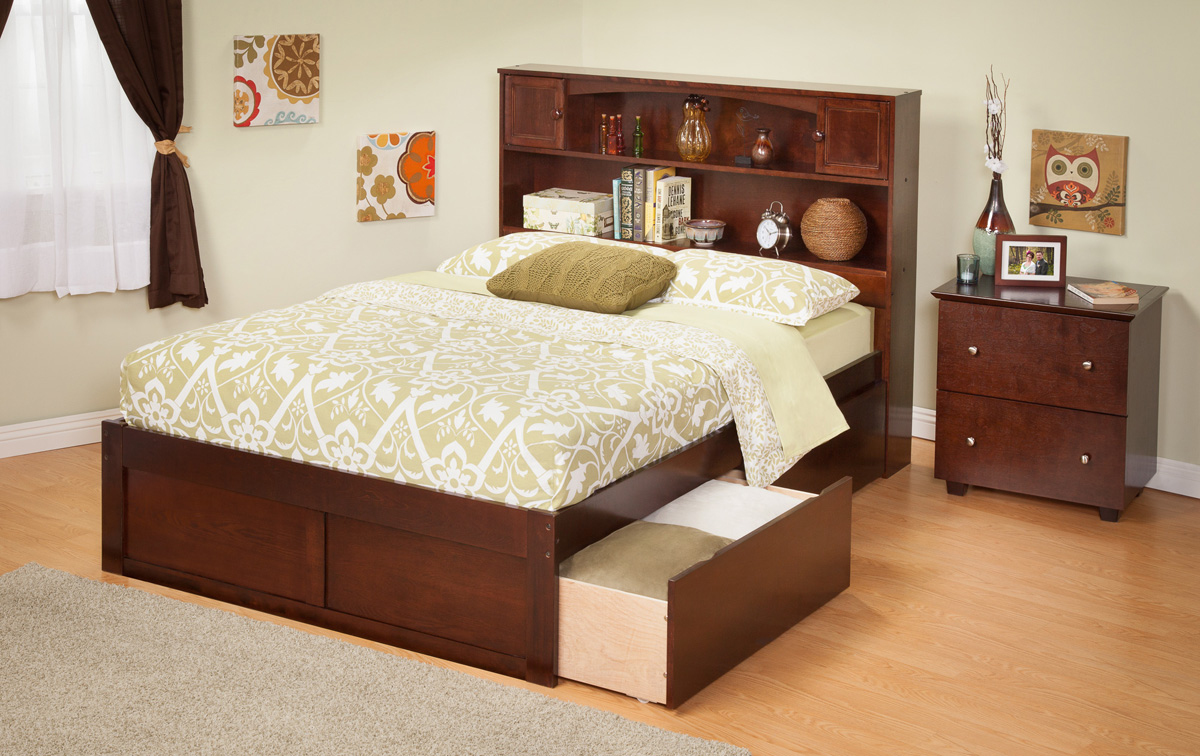 Contemporary Newport Bookcase Full Size Platform Bed Flat