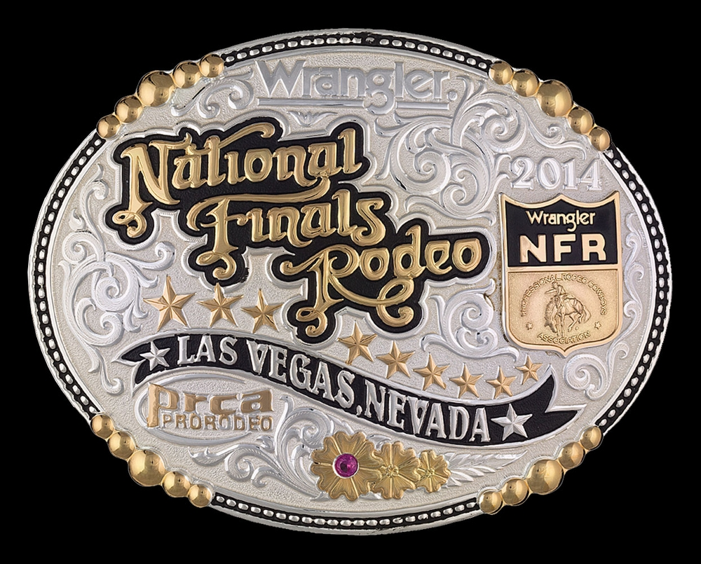 Nfr 2014 Silver And Gold Beaded Belt Buckle