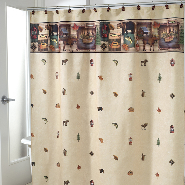 camping trip shower curtain and bath