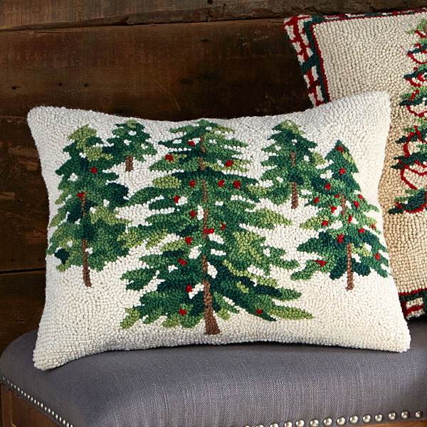 Woodland Pine Trees Hooked Wool Pillow