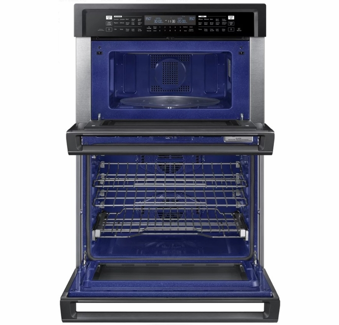 nq70m6650dg samsung 30 microwave combination wall oven with steam cook and speed cook black stainless