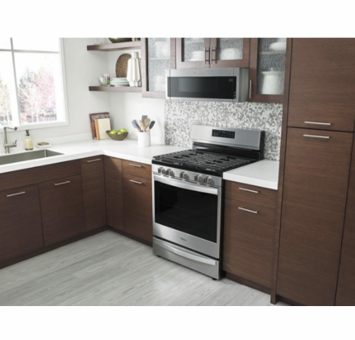wml55011hs whirlpool low profile 30 1 1 cu ft over the range microwave with tap to open door and 400 cfm venting system stainless steel