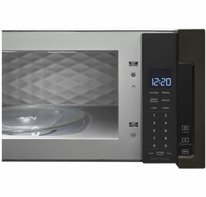 wml75011hv whirlpool profile 30 1 1 cu ft over the range low profile microwave hood combination with tap to open door and 400 cfm venting system