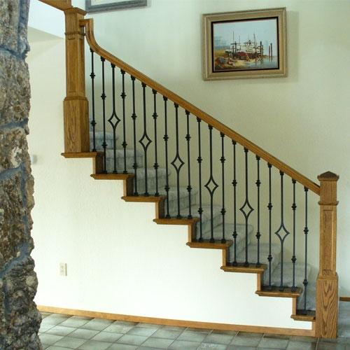 Stair Parts L Iron Baluster L Iron Railings L Stair Hardware Only 22 50   White Banister With Iron Spindles   Foyer   Remodel   Basement   Stair Heavy   Madison