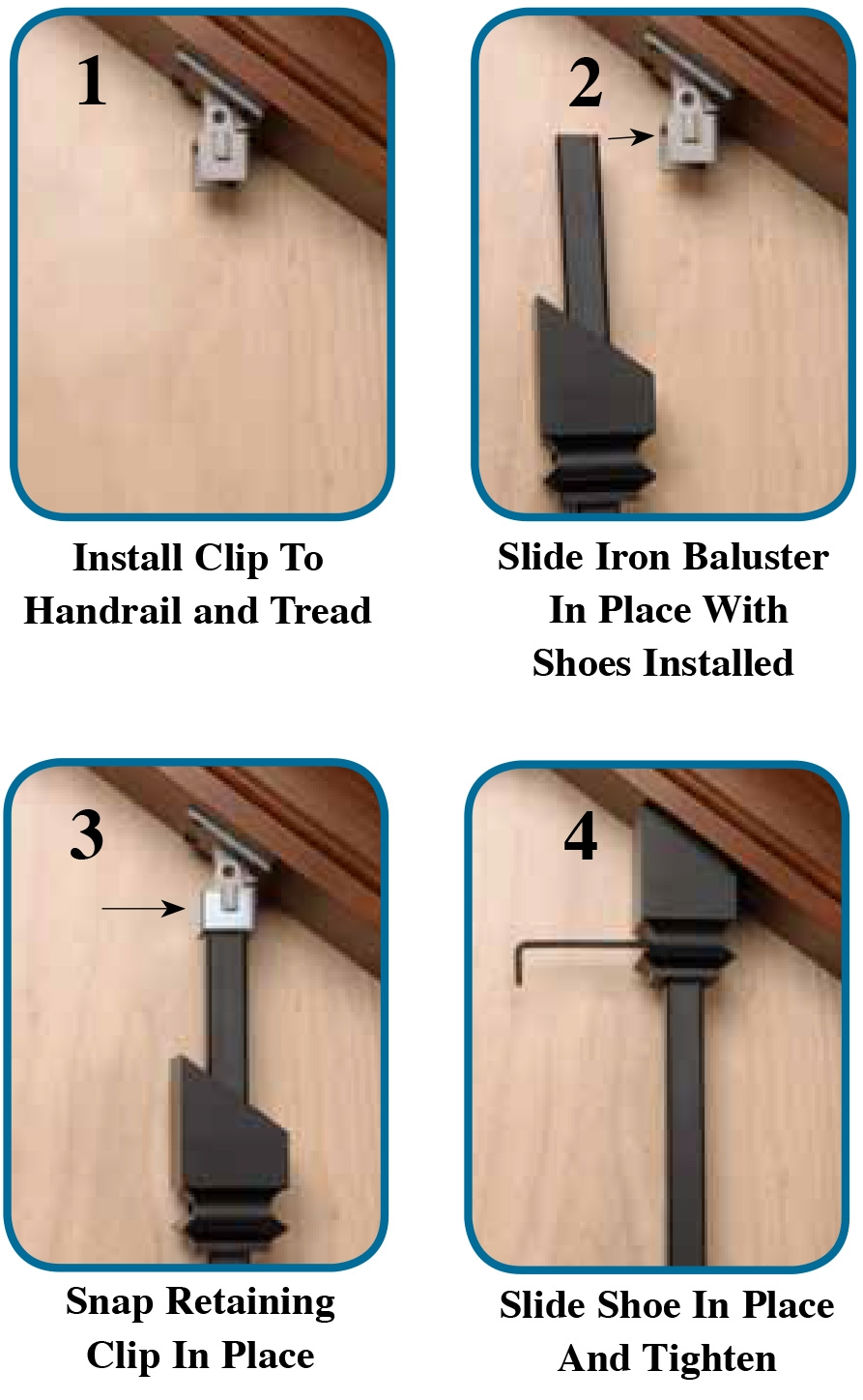 Zip Clip Iron Baluster Installation Kit Only 5 45 Iron Baluster | Shoe Rail For Iron Balusters | Modern | Oak | Slides | Cast Iron | Remodel