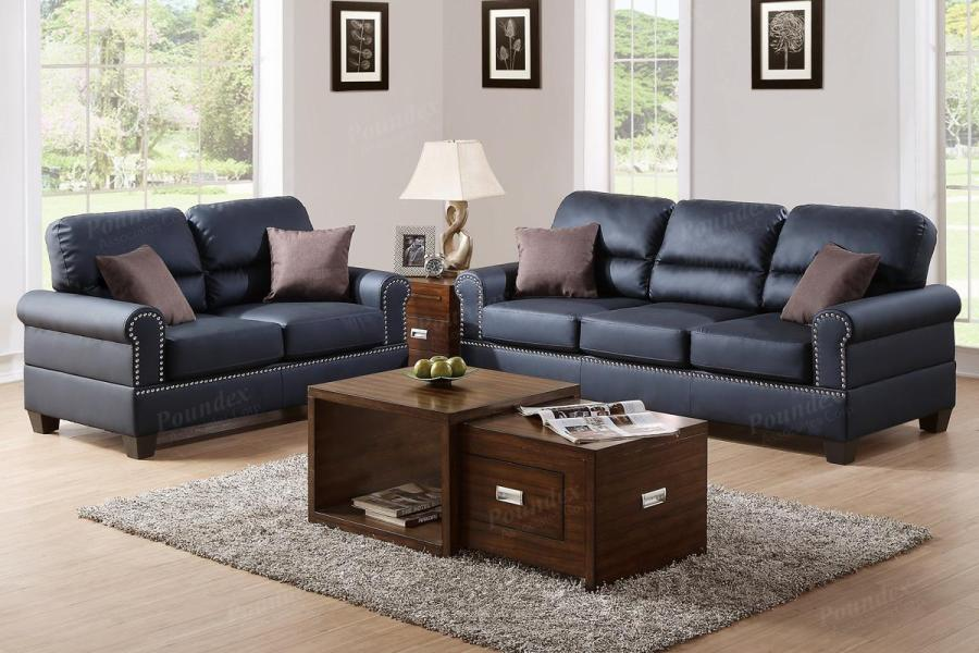 Black Leather Sofa and Loveseat Set   Steal A Sofa Furniture Outlet     Aspen Black Leather Sofa and Loveseat Set