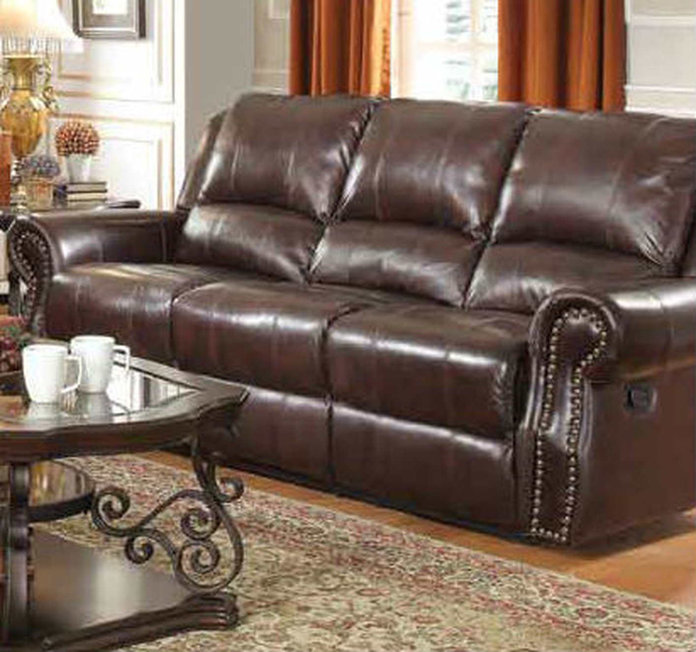 Brown Leather Power Reclining Sofa Steal A Furniture Outlet