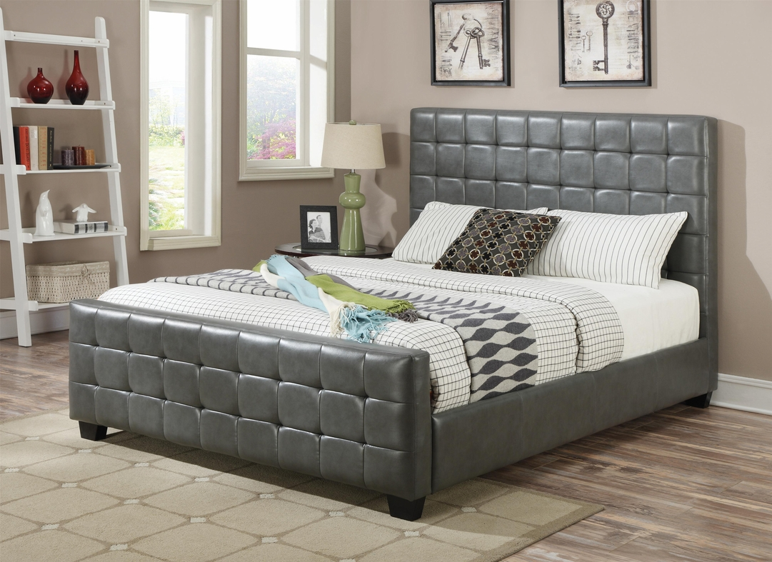 Grey Wood California King Size Bed