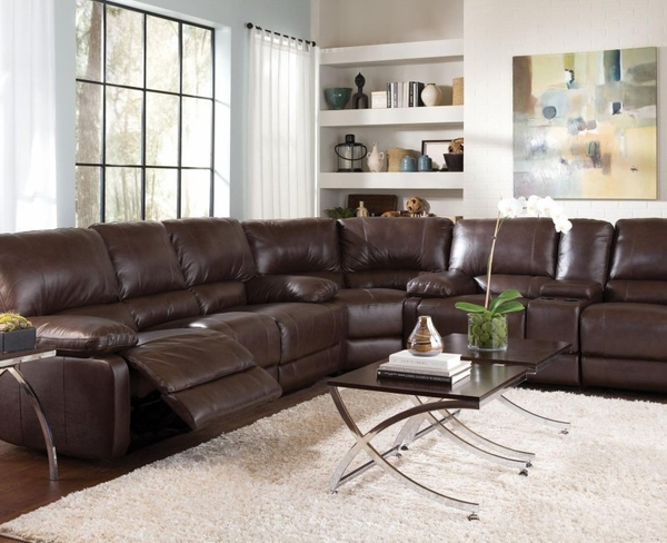 Brown Cognac Leather Reclining Six Seat Sectional Sofa By