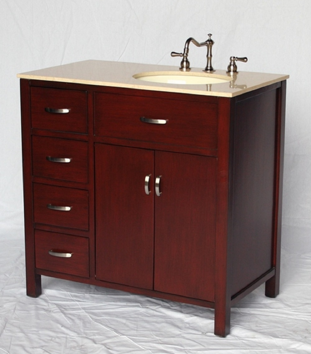 36 Inch Bathroom Vanity With Sink On The Right Side Drawers On The Left 36 Wx21 Dx36 H S2277