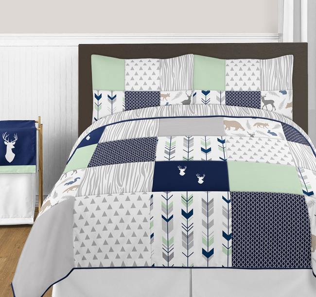woodsy navy mint and grey full queen bedding collection