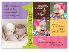 twin baby 1st birthday invitation card
