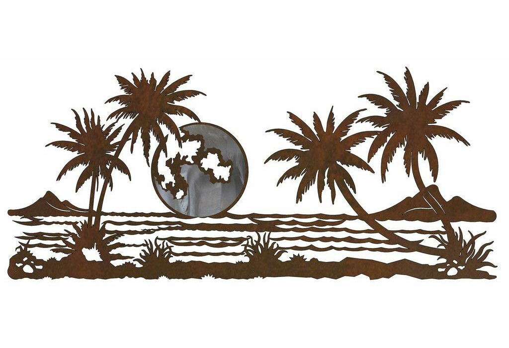 "57"" Palm Trees With Ocean View Burnished Metal Wall Art"