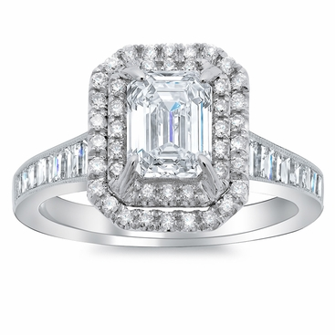 Double Halo Engagement Ring With Channel Set Baguette