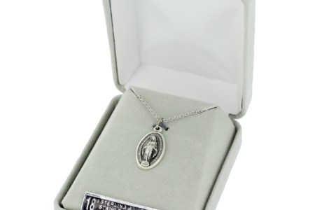 Sterling Silver Oval Miraculous Medal in a Decorative Border Design     Delivered in a Velour Jewelry Gift Box  Medal Size  5 8  Length Chain Size   18  Length Stainless Steel Rhodium Finish Chain With