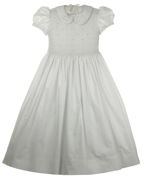 Marco and Lizzy White Batiste Smocked Dress with Rosebud Embroidery     Click to enlarge