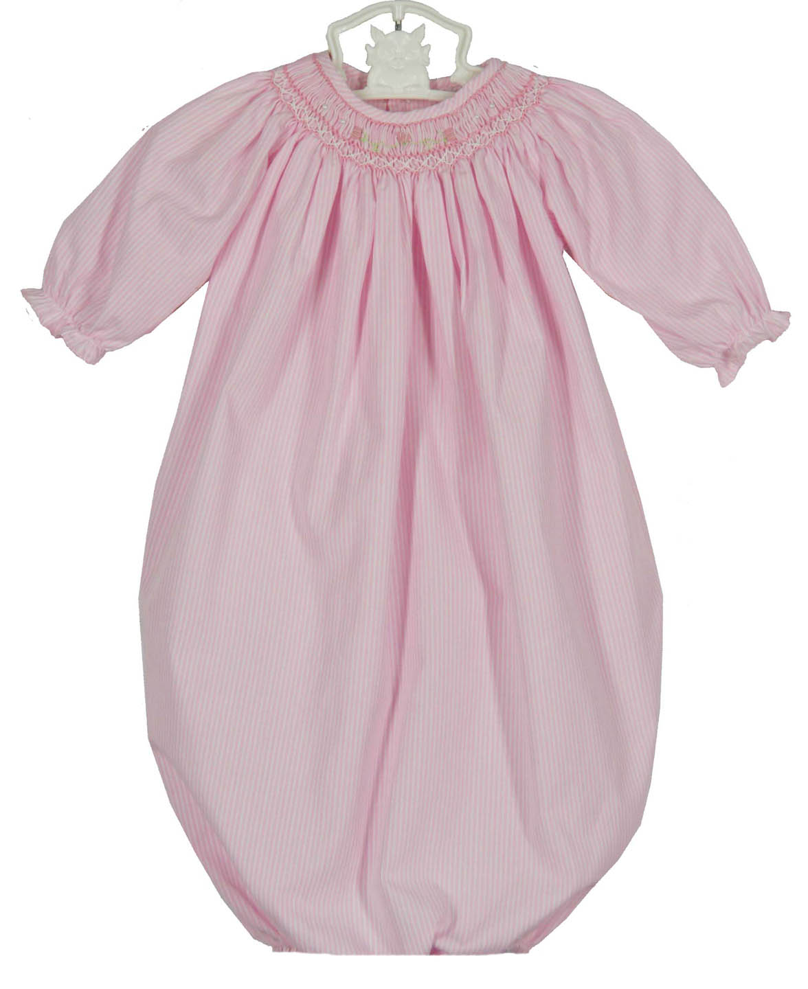 Petit Ami Pink Smocked Gown And Bonnetpink Smocked