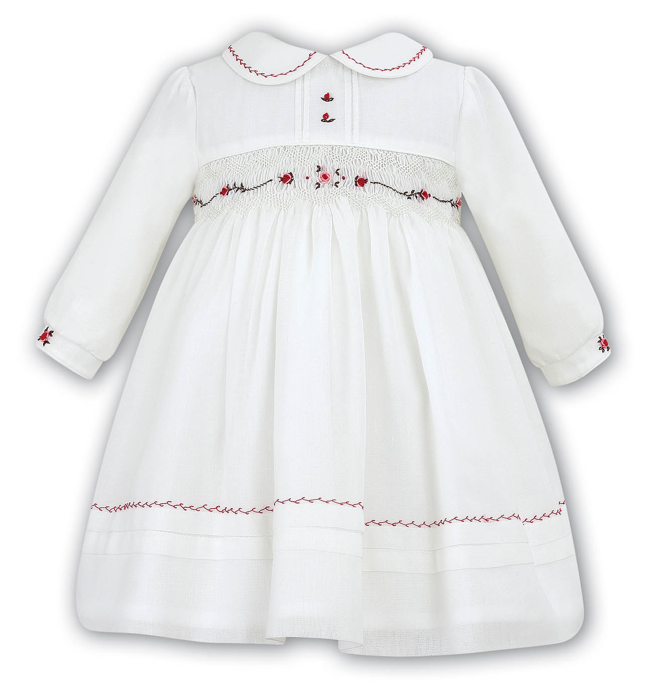 Sarah Louise Ivory Smocked Dress With Cranberry