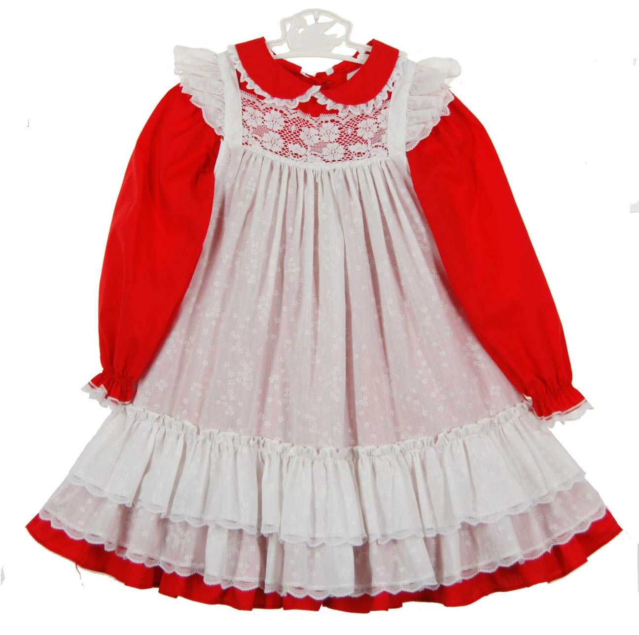 Vintage Bryan Red Dress With White Lace Trimmed Pinafore