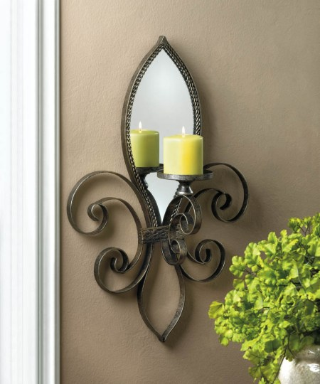 Fleur De Lis Mirrored Wall Sconce Wholesale at Koehler Home Decor     Fleur De Lis Mirrored Wall Sconce