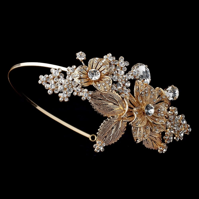 Light Gold Floral Side Accented Bridal Wedding Headband W