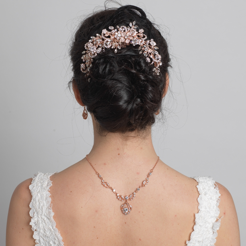 Silver Clear Rhinestone Floral Vine Bridal Wedding Hair