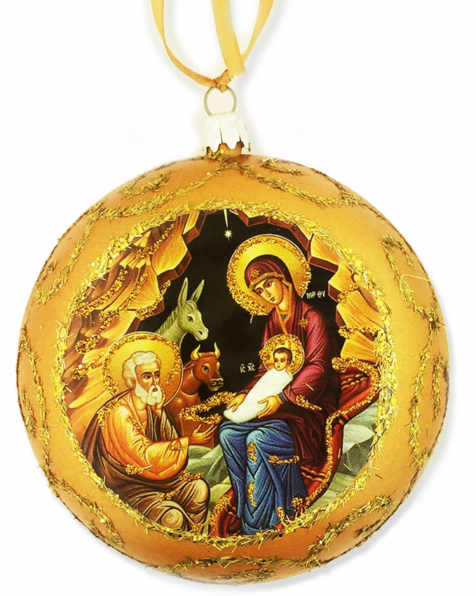 Nativity Religious Christmas Ornament Yellow At Holy