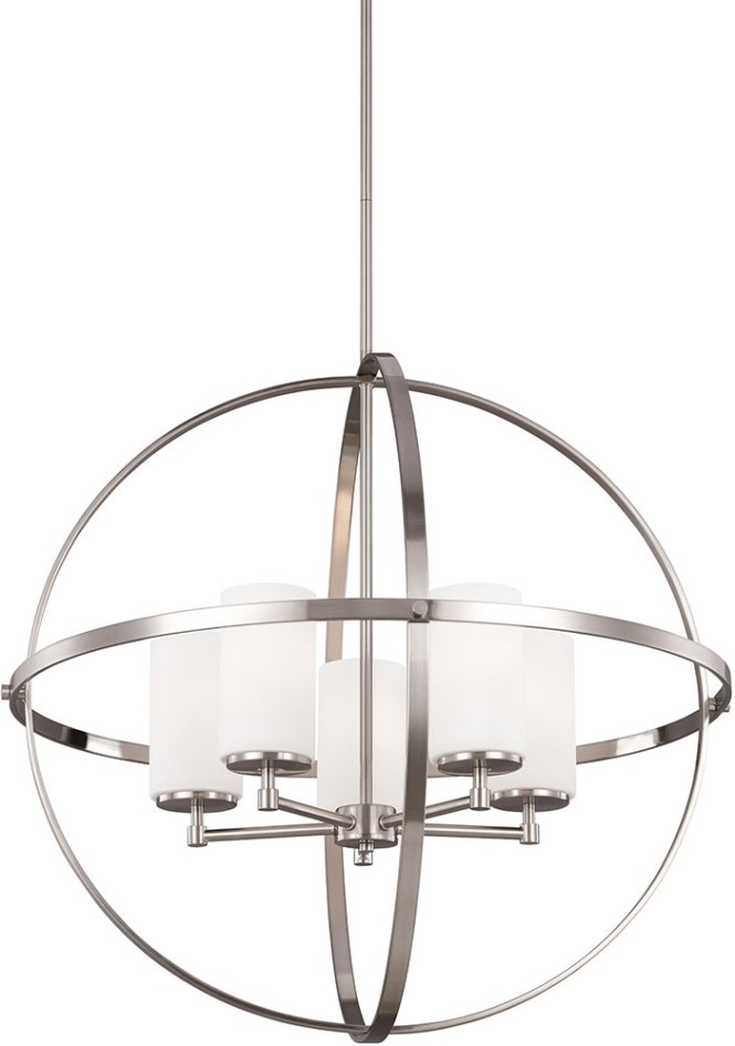 Seagull 3124605ble 962 Alturas Contemporary Brushed Nickel Fluorescent Chandelier Lamp Loading Zoom