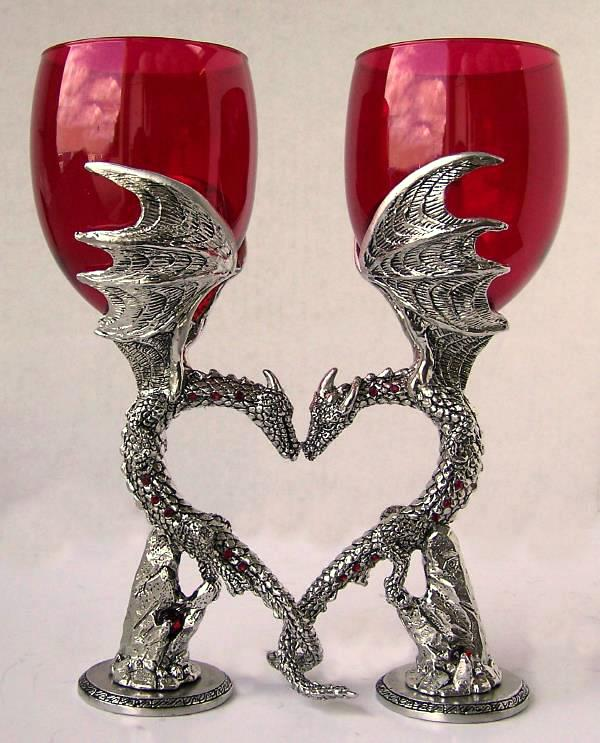 Dragon Heart Wine Glasses Handmade Pewter Dragon Wine Glasses