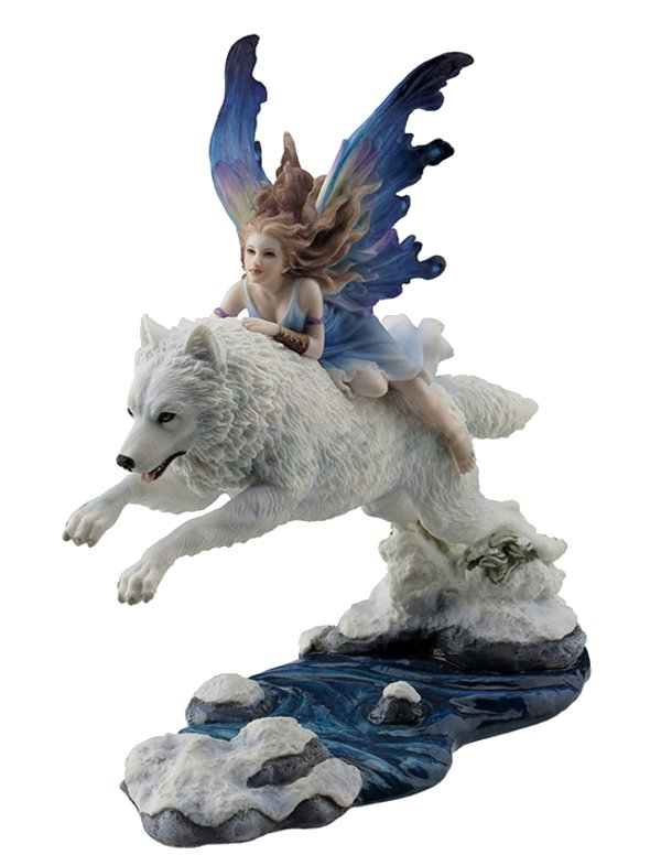 Fairy Riding Arctic Wolf Figurine Faery Gifts