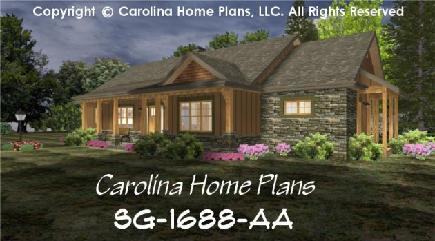 Small Craftsman Cabin House Plan CHP SG 1688 AA Sq Ft   Affordable     CHP SG 1688 AA br   Small Craftsman Cabin House Plan