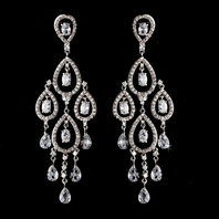 Louisa Royal Collection Breathtaking Swarovski Crystal Cz Wedding Chandelier Earrings