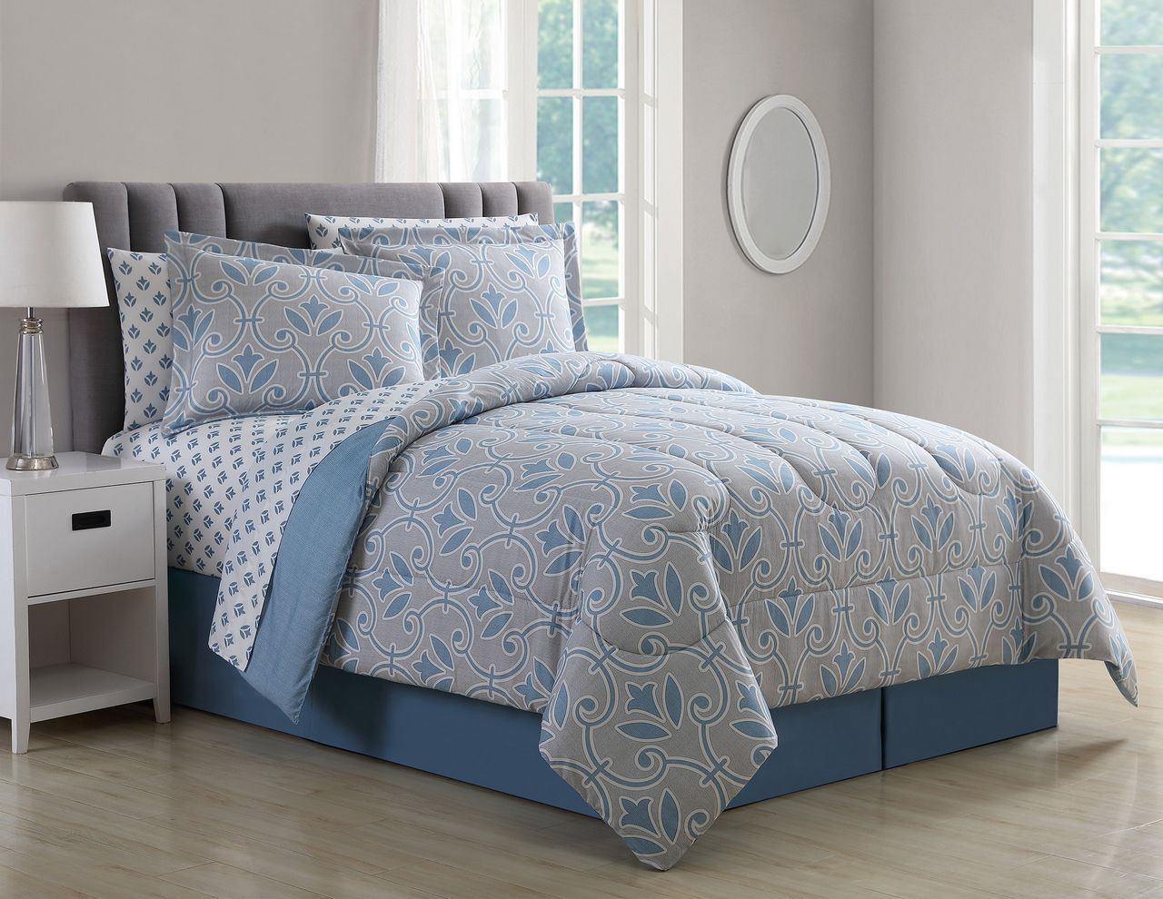 8 Piece Daventry Denim Blue Taupe Comforter Set With