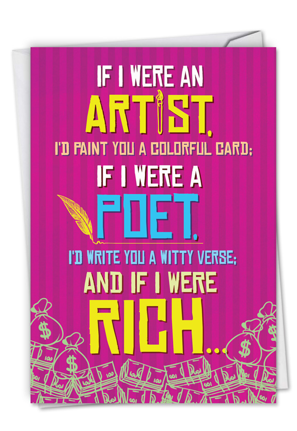 If I Were An Artist Red Rocket Birthday Greeting Card By Treva Cole