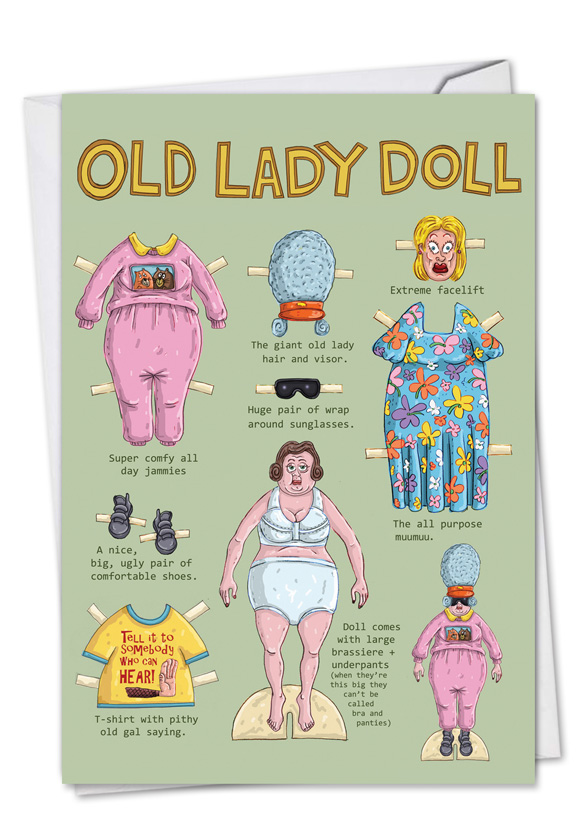 Old Lady Doll Cartoons Birthday Greeting Card Mike Shiell