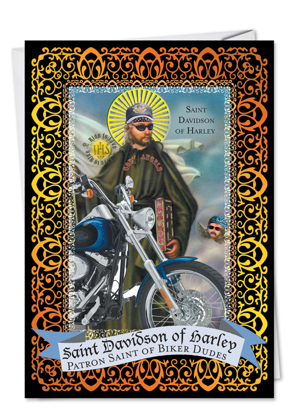 St Davidson Of Harley Biker Dude Birthday Card