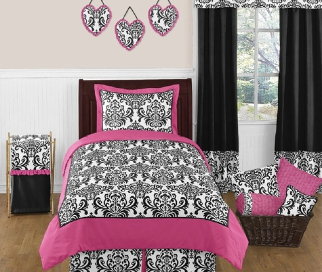 Hot Pink Black And White Isabella Girls Childrens And Teen Bedding By Sweet Jojo Designs