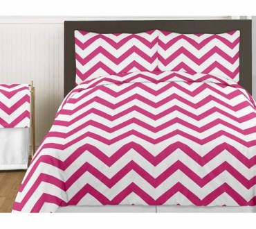 Hot Pink and White Chevron 3pc Childrens and Teen Zig Zag Full     Hot Pink and White Chevron 3pc Childrens and Teen Zig Zag Full   Queen  Bedding Set