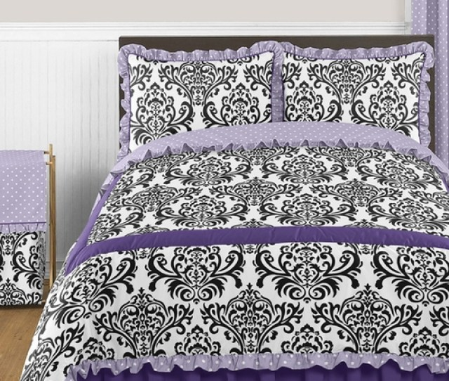 Lavender Purple Black And White Sloane Pc Full Queen Girls Bedding Set By