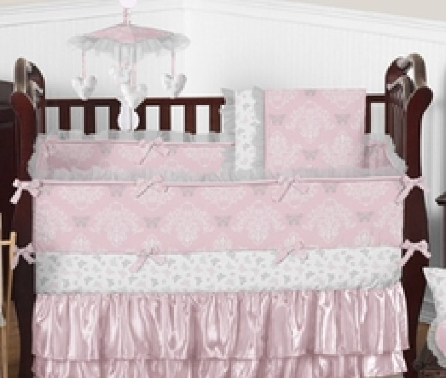 Pink And Gray Alexa Butterfly Baby Bedding Pc Crib Set By Sweet Jojo Designs